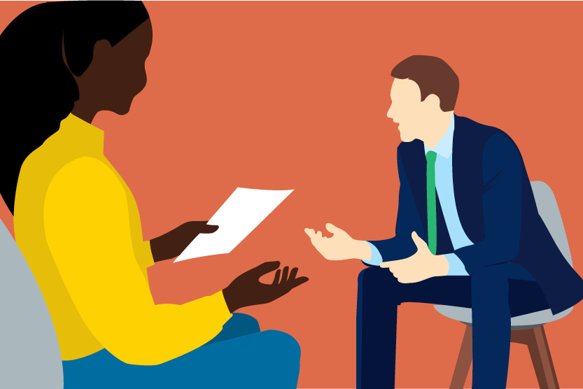 Illustration of a woman (Oprah) interviewing a man