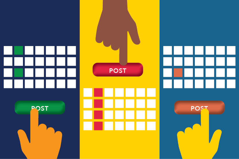 Illustration of hands and keyboards hitting a 'post' button