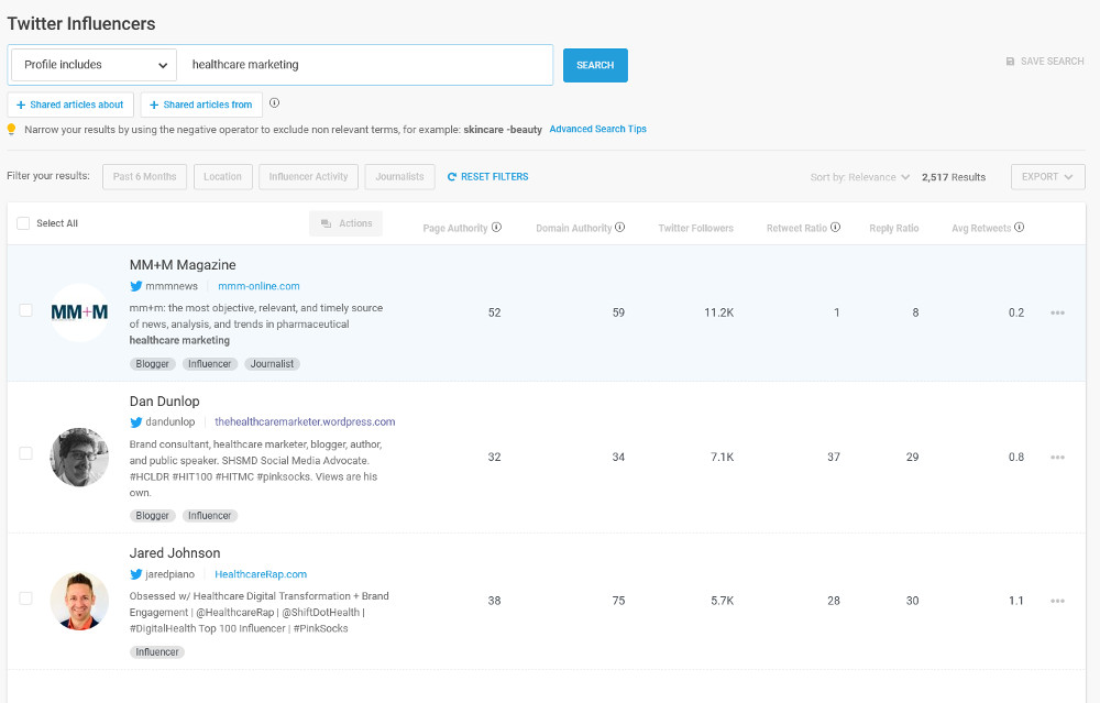 Screenshot of Buzzsumo influencer search