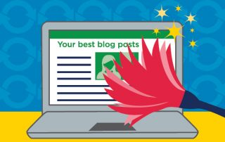"""Feather duster dusting a laptop with the webpage reading """"your best blog posts"""" showing how to update old blog posts."""