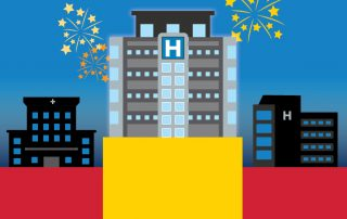 Design of a hospital rising above others with fireworks