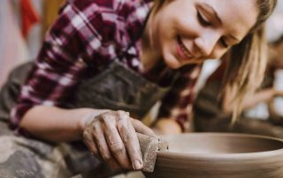Stress relief with hobbies like pottery
