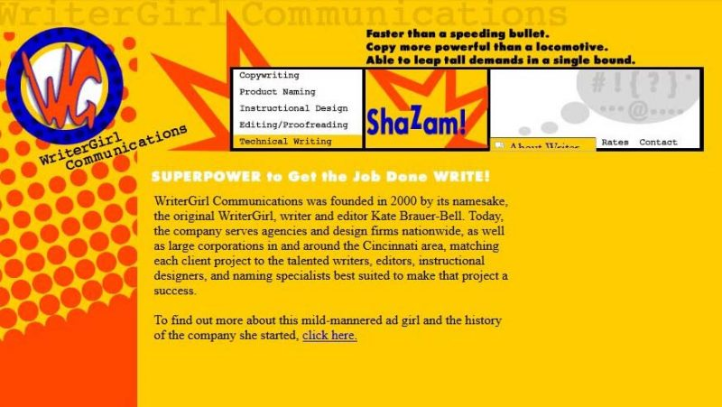 WriterGirl website in 2005