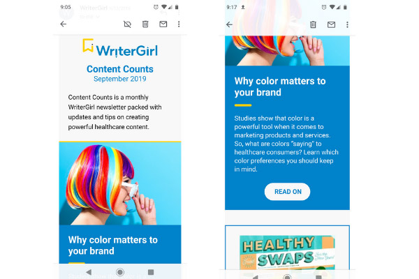 New, mobile-friendly WriterGirl email template
