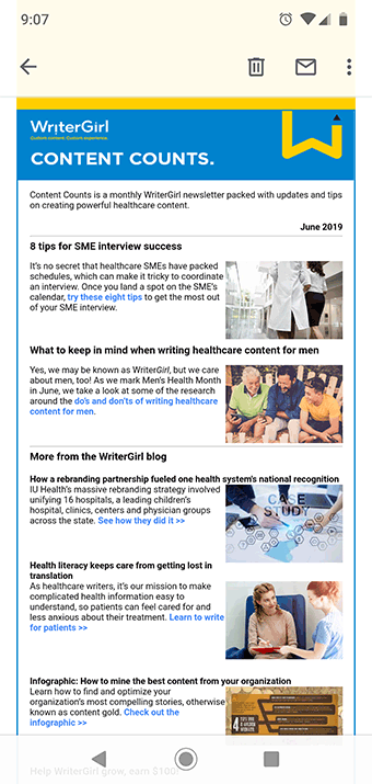 Old WriterGirl newsletter template that's not mobile-friendly