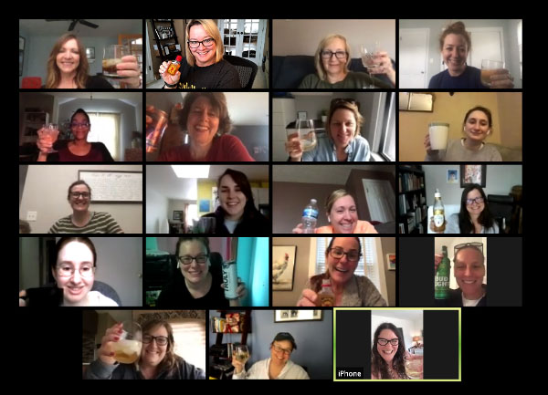 The WriterGirl team on a virtual happy hour