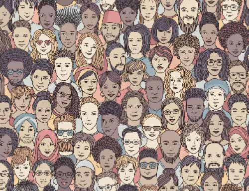Illustration of a diverse crowd of people