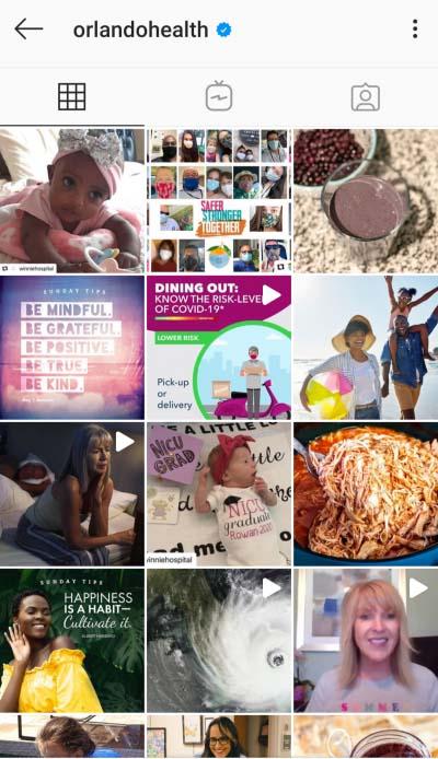 A screenshot of the Orlando Health Instagram feed.