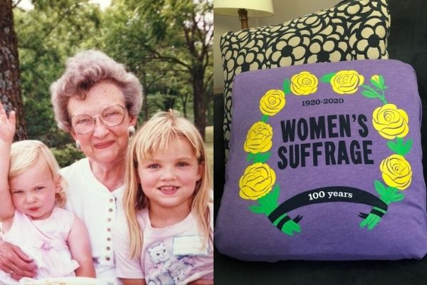 The author's mother, daughter and niece and the women's suffrage pillow
