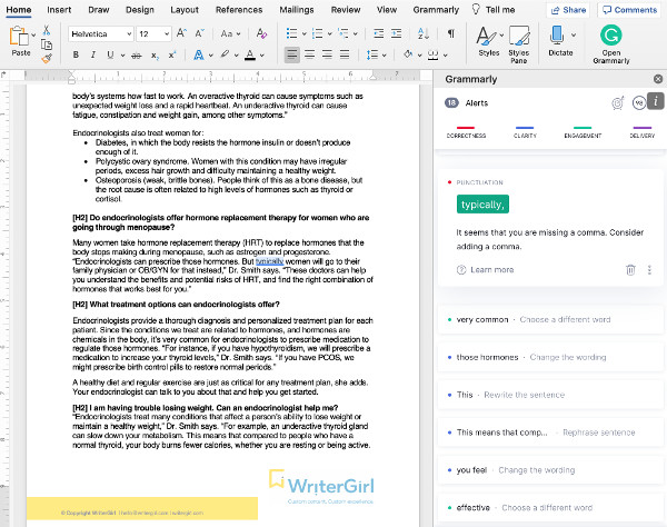 Screenshot of the Grammarly app and how it can improve your writing