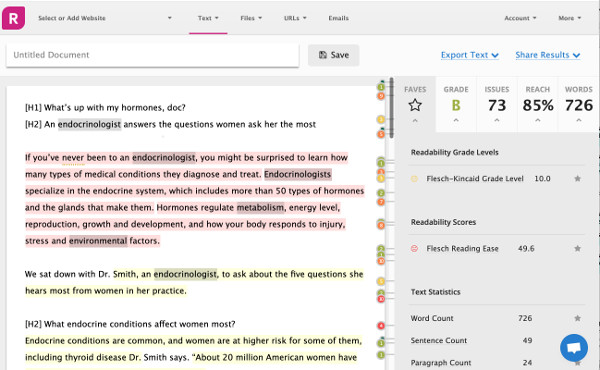 A screenshot of the Readable app and how it can improve your writing