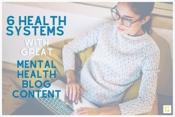 woman reading a blog on a laptop with mental health blog title overlayed