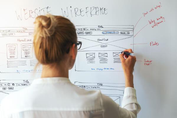 woman planning her web content on a white board