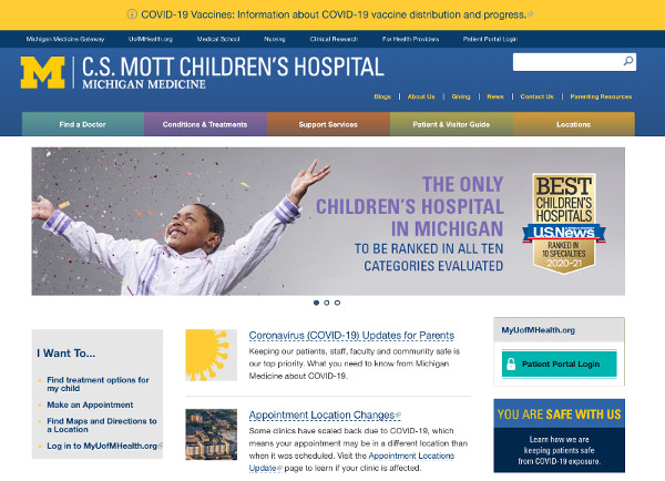 C.S. Mott Children's Hospital website screenshot