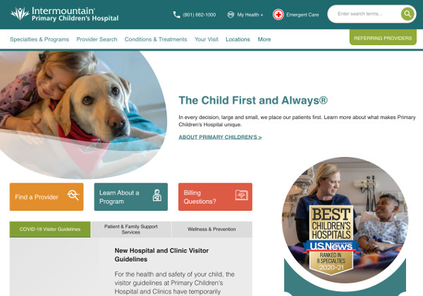Intermountain Children's website screenshot