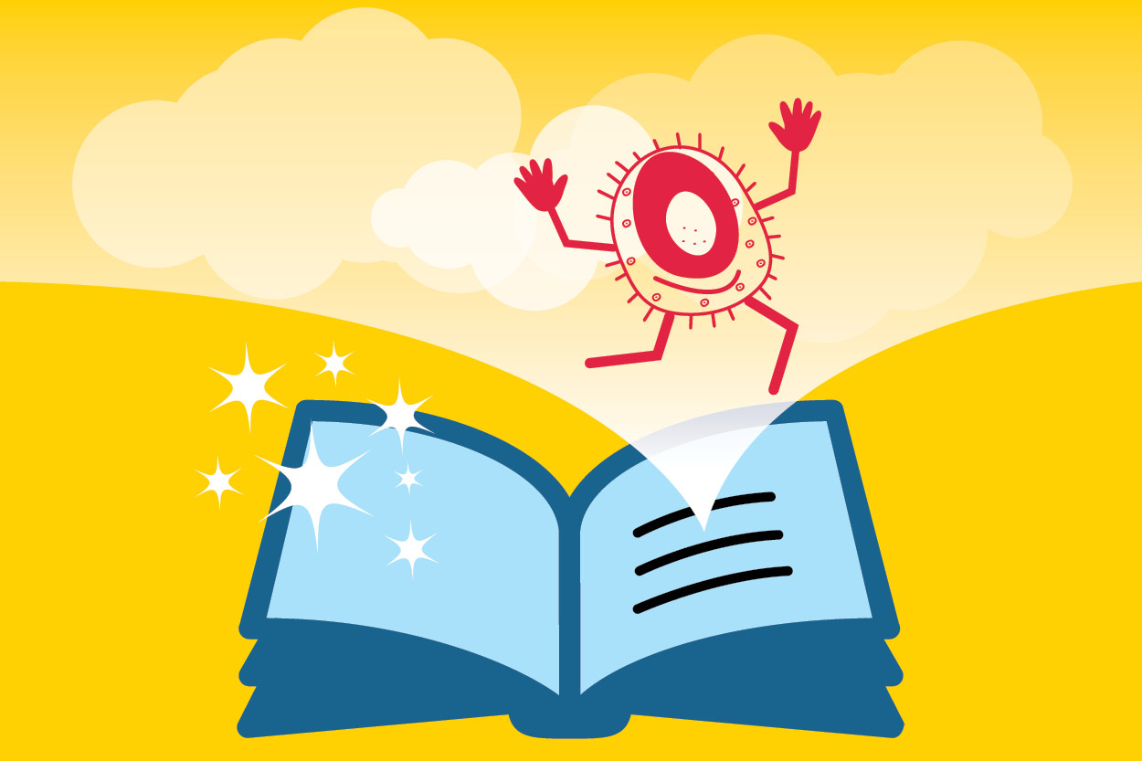 Open story book with an illustrated bacterium jumping out