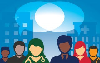 Illustration of a diverse group of people sharing a speech bubble