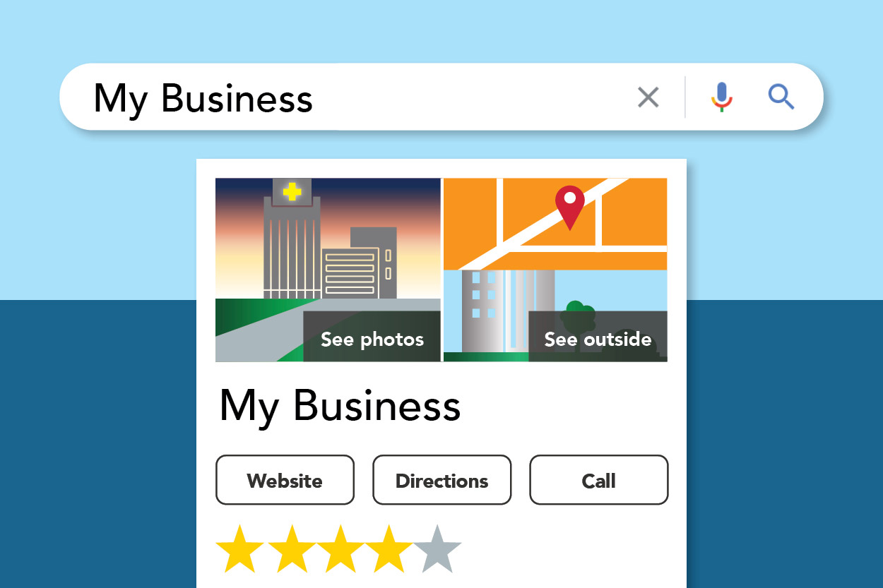 An illustration of a Google My Business listing