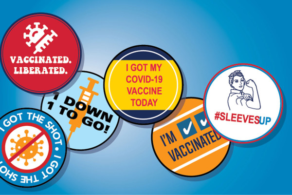 An illustration of COVID-19 vaccine campaign messaging buttons
