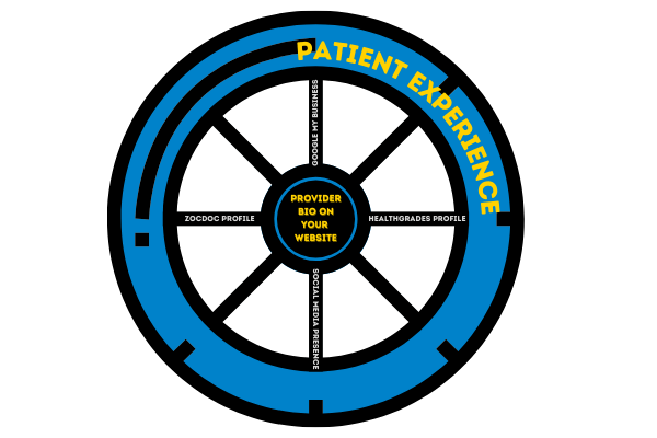The wheel of a physician's online presence