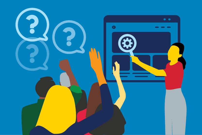 Illustration of people asking questions about SEO