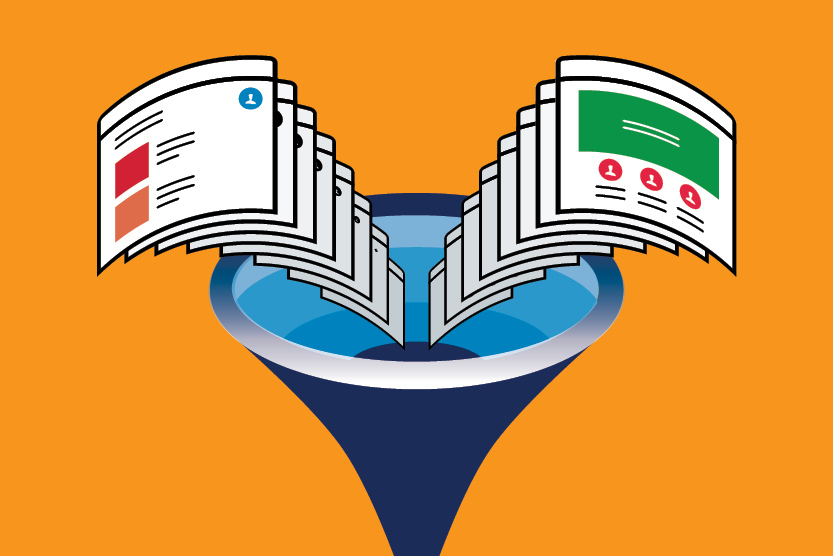 illustration of two sets of website pages going into a funnel