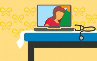 Illustration of a child and parent on a laptop during a video call with stethescope on the side