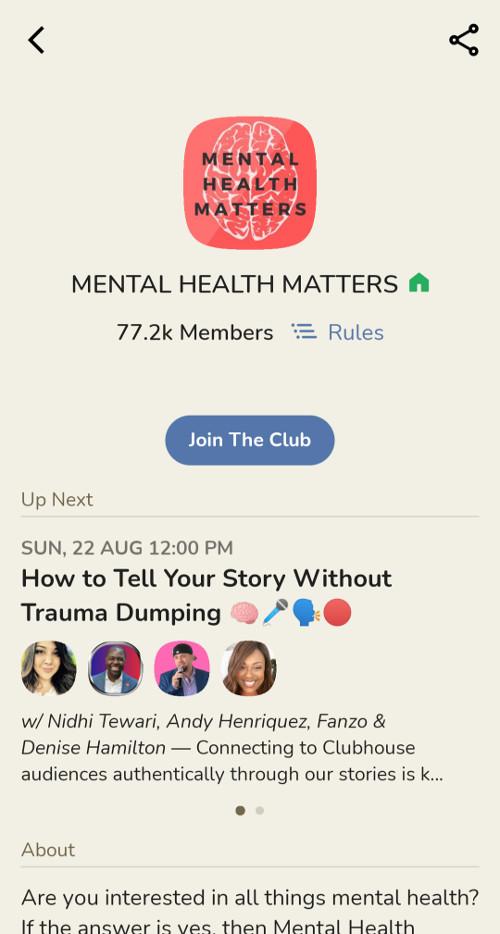 A screenshot of a clubhouse club