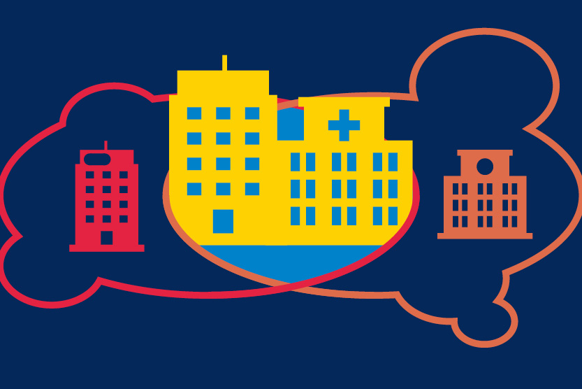 Illustration of a cloud coming together with multiple hospitals