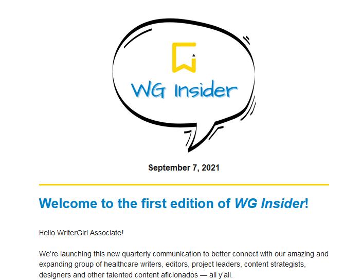A screenshot of the WG Insider newsletter