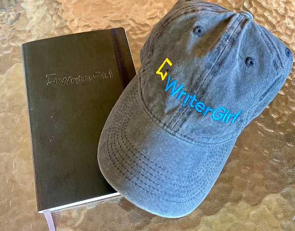 WriterGirl notebook and hat