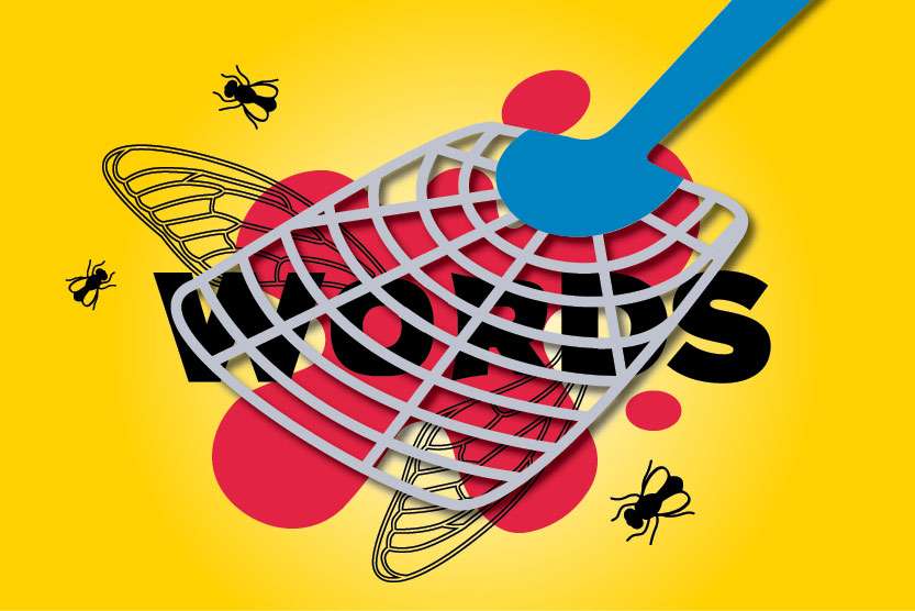 """image of a fly swatter squishing """"words"""""""